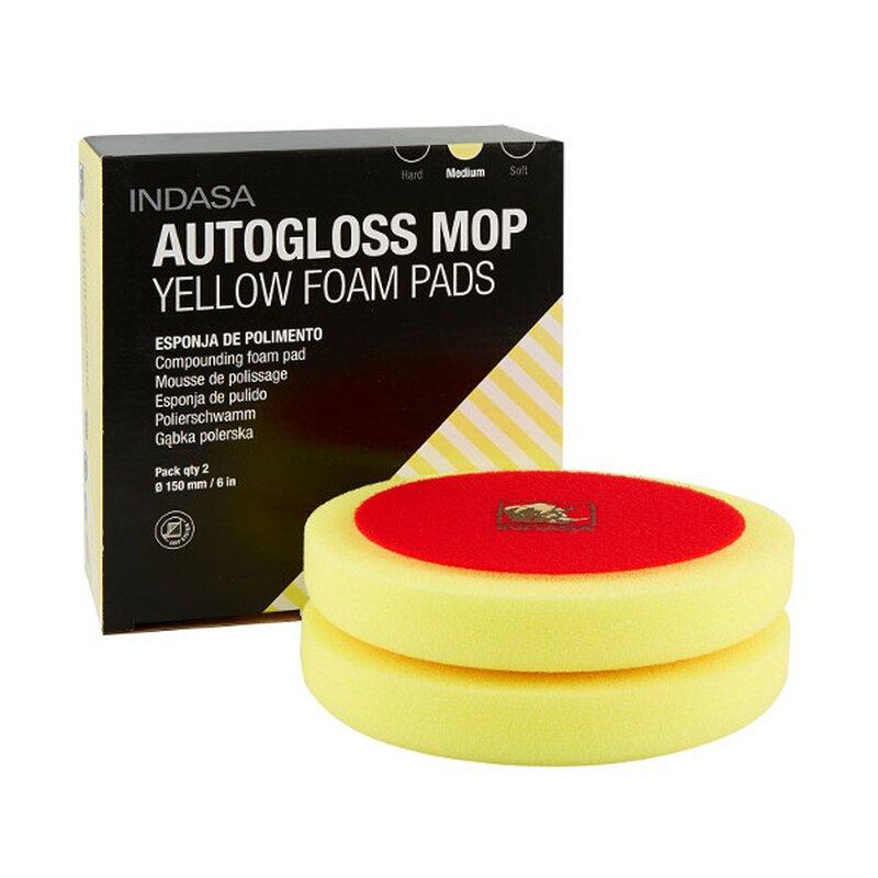 indasa autogloss mop 150 mm yellow foam pads 2 gelbe mittelharte po 15 45. Black Bedroom Furniture Sets. Home Design Ideas
